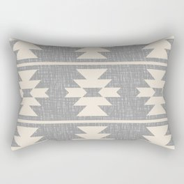 Southwestern Pattern 131 Grey and Beige Rectangular Pillow