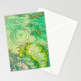 Colorful Map of the North Pole - Vintage Stationery Cards