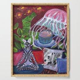 A Jellyfish Prepares Tea for the Meditating Zebra Serving Tray