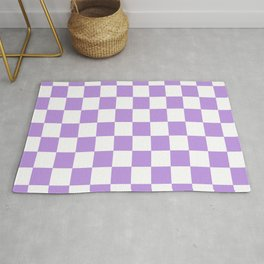 Checkered - White and Light Violet Rug
