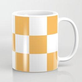 Large Light Orange Checkerboard Pattern Coffee Mug