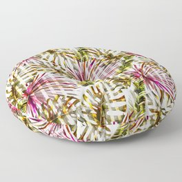 Tropical pink purple sunshine yellow palm tree stripes Floor Pillow