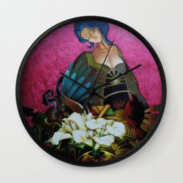 Flower Seller floral calla lilies and red bird fuchsia pink portrait painting Wall Clock