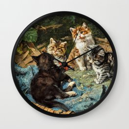 Five Cats In A Basket - Julius Anton Adam Wall Clock