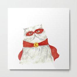 Super hero cat Painting Wall Poster Watercolor Metal Print