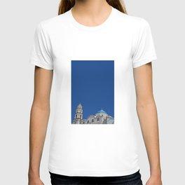 Minimalist Santorini - White buildings and blue sky, Fine Art Travel Photography T-shirt