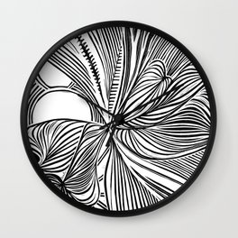 Linocut Peeking Moons in black & white Wall Clock