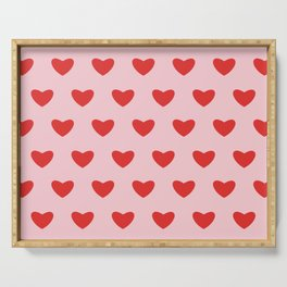 Red hearts pattern on pink background Serving Tray