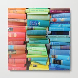 Rainbow Stacks of Vintage Books Metal Print