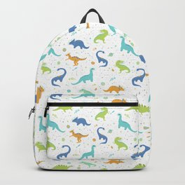 Space Dinosaurs on Orange + Blue Backpack