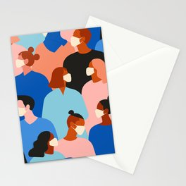People in white medical face mask Stationery Cards