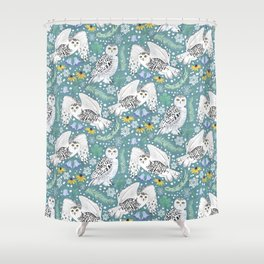 Snowy Owls on a Snowy Day - Teal Background Shower Curtain