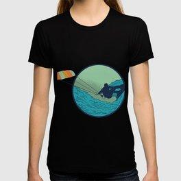 Kitesurfer with wave T-shirt