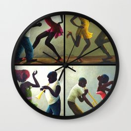 African American Masterpiece 'Jubilee Day - Juneteenth' collage painting by O. Bulman Wall Clock