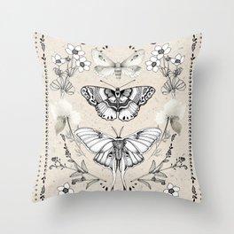 Three Moths Throw Pillow