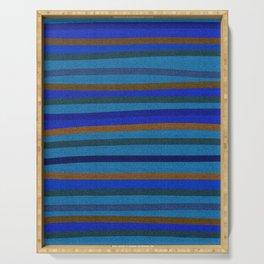 Denim Stripes in Blue, Tan, Cyan & Chocolate Serving Tray