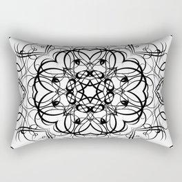 DEEP BLACK AND WHITE KALEIDOSCOPE Rectangular Pillow