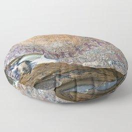 African Prehistoric Rock Art Painting Hunters in a Row Floor Pillow