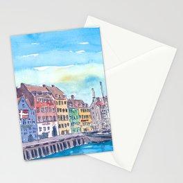 Copenhagen Nyhavn Waterfront Scene in Denmark Stationery Cards