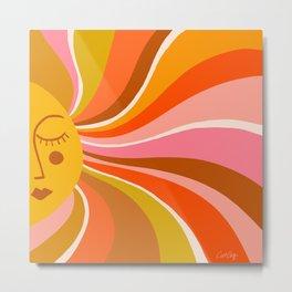 Sunshine Swirl – Retro Ochre Metal Print