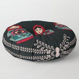 Russian Dolls // Folk Art // Red, Black and Teal  Floor Pillow