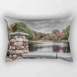 Cloudy autumn day at Millbrook Pond Rockport Rectangular Pillow