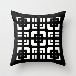 PLAZA stark black and white repeating square pattern with border Throw Pillow