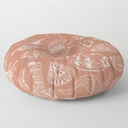 Unique museum collection of sea shells rare endangered species molluscs, white contour on Sepia bronze Rust copper background Floor Pillow