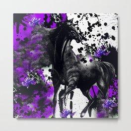 HORSE BLACK AND PURPLE THUNDER INK SPLASH Metal Print