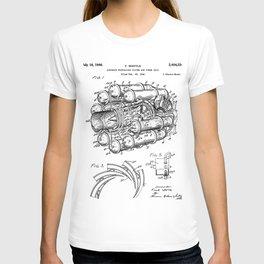 Airplane Jet Engine Patent - Airline Engine Art - Black And White T-shirt