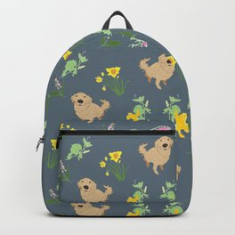 Golden Retriever and Spring Flowers Pattern Print Backpack