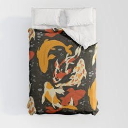 Koi in Black Water Comforters