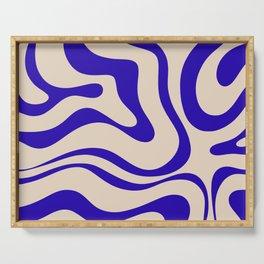 Modern Liquid Swirl Abstract Pattern Square in Indigo Blue Serving Tray