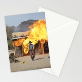 Action scene featuring a fireball explosion at Old Tucson a movie studio and theme park just west of Stationery Cards