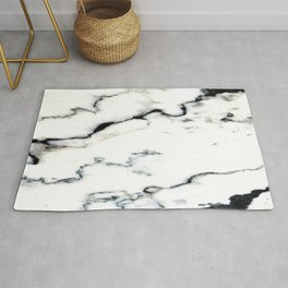 Smoky Whispers Black and White Marble Design Rug