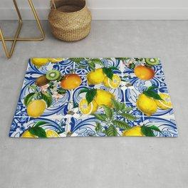 Mediterranean Lemon on Blue Ceramic Tiles Rug