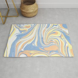 Blush yellow orange blue abstract watercolor marble Rug