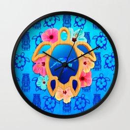 Hawaiian Swimming Turtle And Tiki Masks Wall Clock