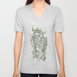 Valentine's Day Gift: Skeleton Kiss Unisex V-Neck