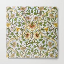 William Morris Narcissus, Daffodil, Calla Lily Textile Floral Print Metal Print
