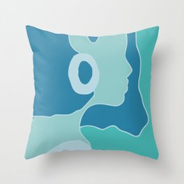 Blue portrait silhouette Throw Pillow