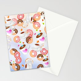 Coffee and Doughnuts En L'air Stationery Cards