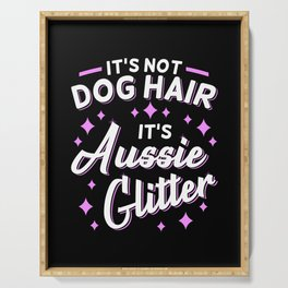 Australian Shepherd Aussie Dog Mom Glitter Serving Tray