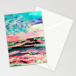 Pastel Sunset Abstract Painting Stationery Cards
