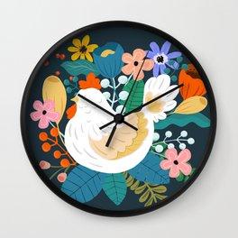 A Cheerful Chicken In A Sunny Garden Wall Clock
