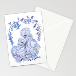 Silkie Chickens and Bluebells Stationery Cards