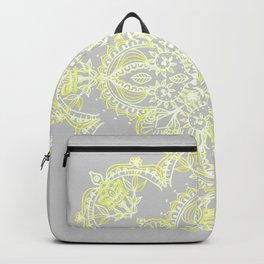 Pale Lemon Yellow Lace Mandala on Grey Backpack