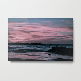 Fading Sunset over the Shimmering Waters on the Moroccan Coast in Essaouira. Nature Photography. Metal Print