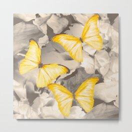 Yellow Butterflies on Dark Floral Background #decor #society6 #buyart Metal Print