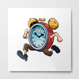 Clock Man Running Metal Print